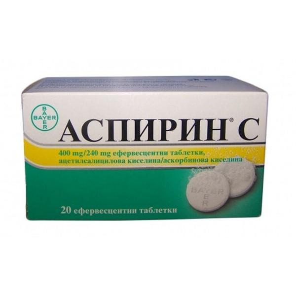 Aspirin C 400mg/240mg 20 Effervescent Tablets Bayer