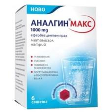 Analgin Metamizole Sodium 1000mg 6 Effervescent Sachets
